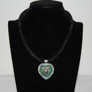 Edelweiss Trachten Kette,grün,Samtkropfband,Herzanhänger mit Strasssteinen