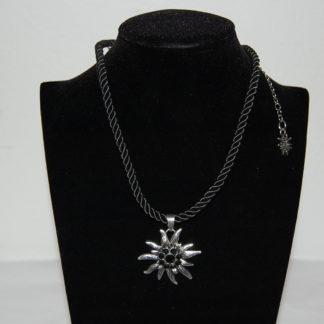 Edelweiss Trachten Damen Trachten Kette Edelweiss Kordel 37 cm Edelweiss Necklace Black