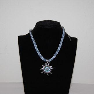 Edelweiss Trachten Damen Trachten Kette Edelweiss Kordel 37 cm Hellblau