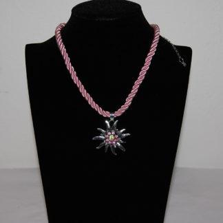 Edelweiss Trachten Damen Trachten Kette Edelweiss Kordel 37 cm Rosa