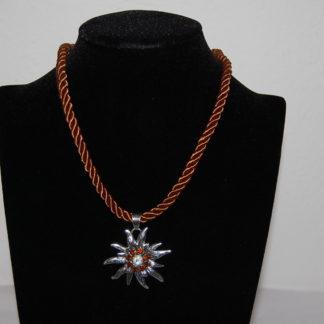 Edelweiss Trachten Damen Trachten Kette Edelweiss Kordel 37 cm Braun